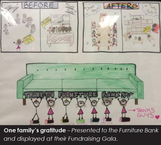 Poster drawn by a child in gratitude to Furniture Bank